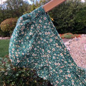 Green Floral Vintage Romper